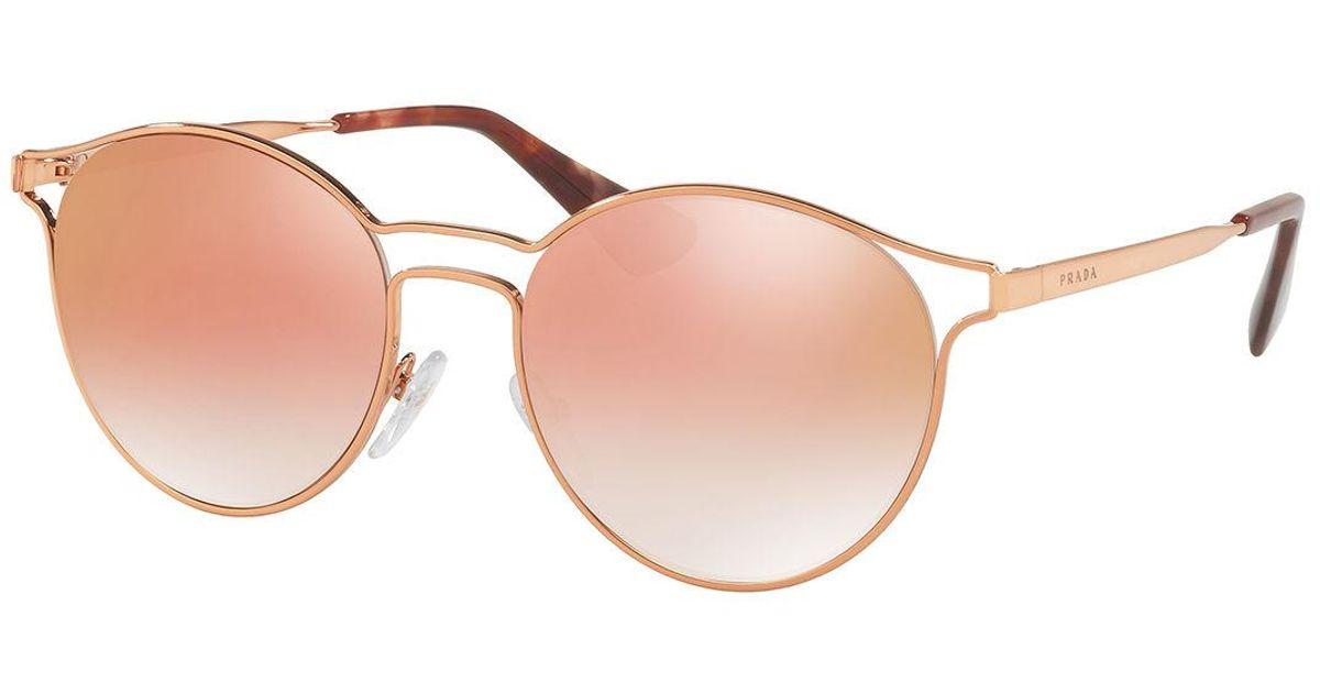 939b02b2d Prada Round Metal Open-inset Mirrored Sunglasses in Pink - Lyst