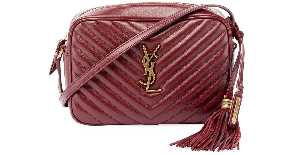 1b2eaafc Saint Laurent Red Loulou Monogram Ysl Medium Chevron Quilted Leather Camera  Shoulder Bag