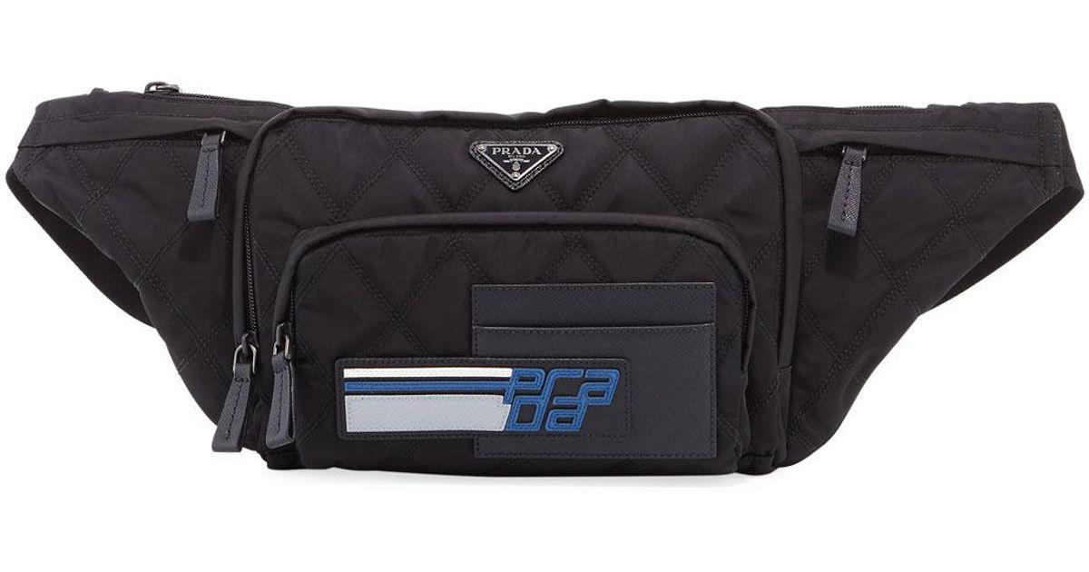 2754511b26cea5 ... denmark lyst prada tessuto impunturato fanny pack bag in black 9cd8e  0d72b