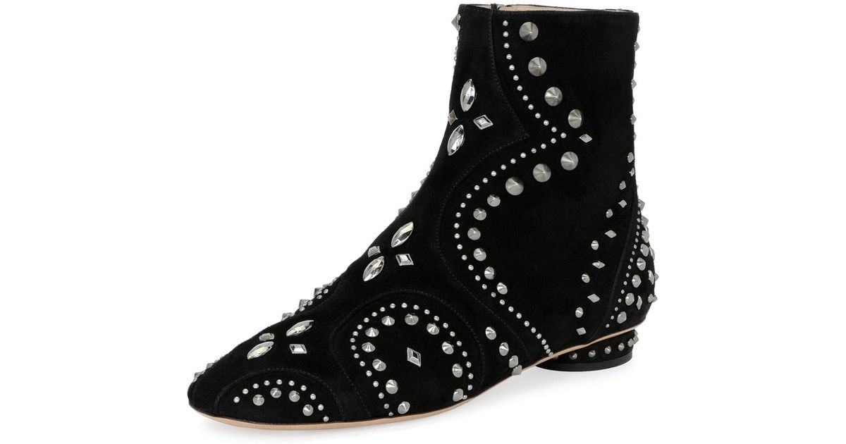 e239f101222 Valentino Black Pebbles Studded Flat Bootie