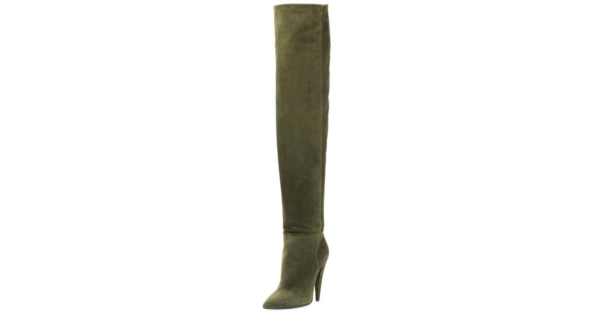 006a5066e24e8 Lyst - Saint Laurent Era Suede Over-the-knee Boot in Green