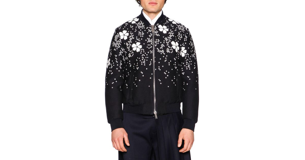 Lyst dsquared² embroidered cherry blossom bomber jacket