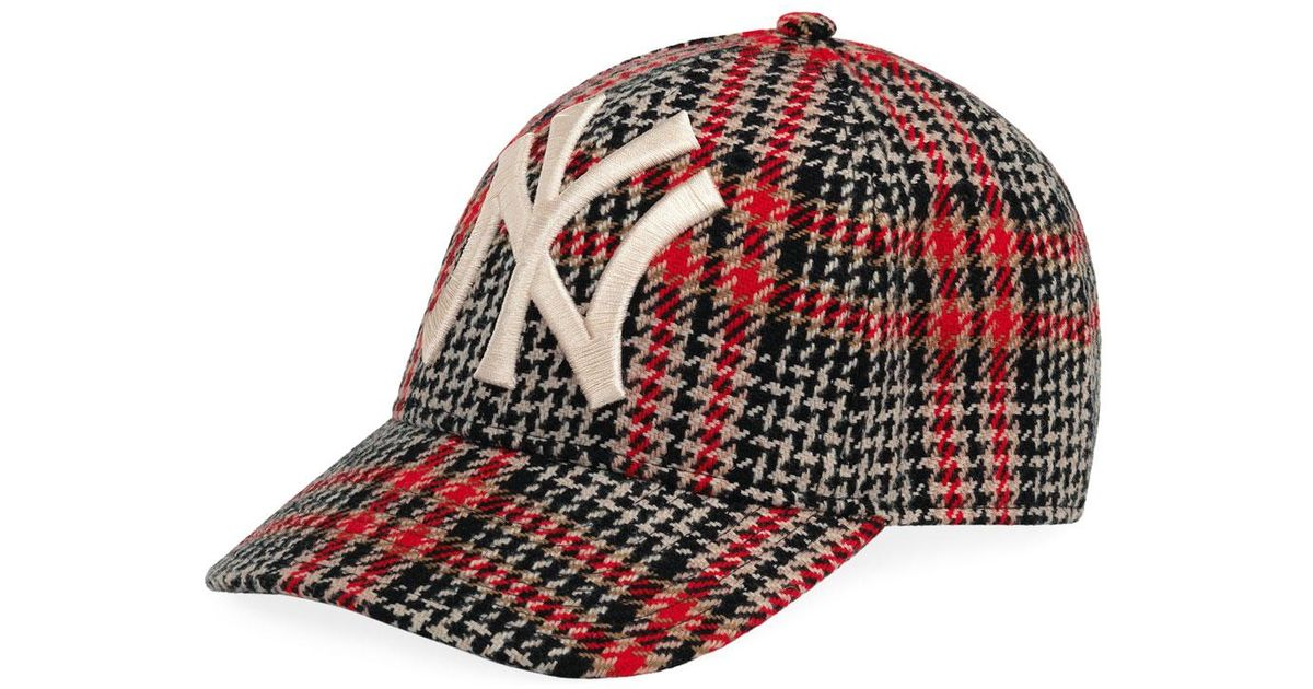 81c81118c Gucci Orange Men's Houndstooth Baseball Cap With Ny Yankees Applique for men