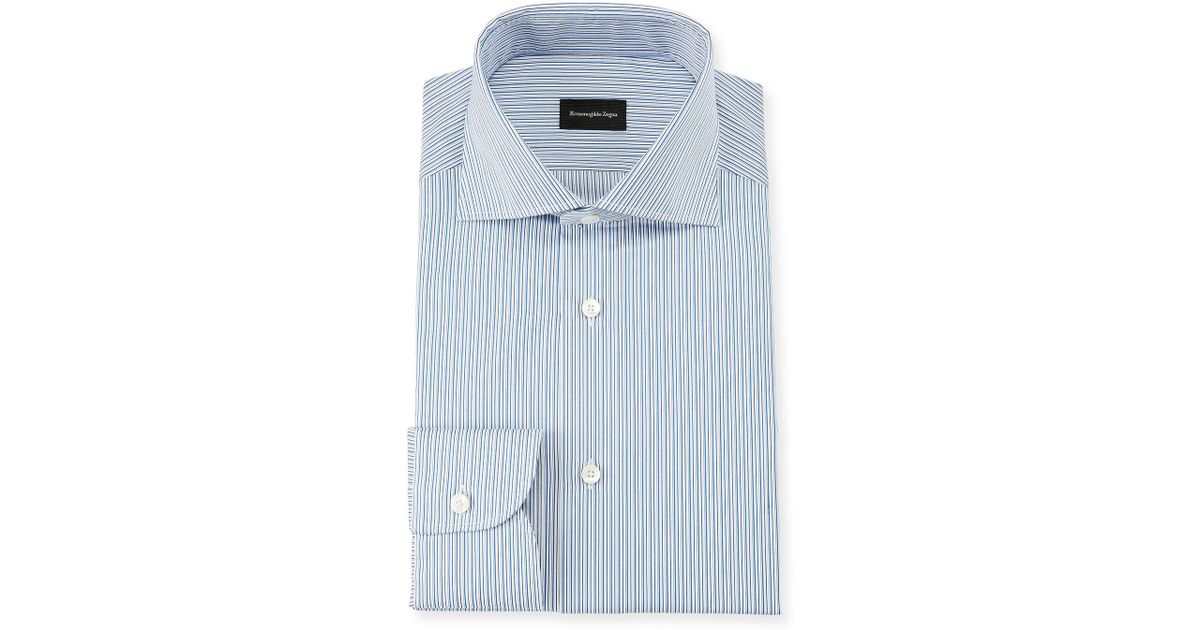 ea19236d Ermenegildo Zegna Men's Multi-stripe Cotton Dress Shirt Royal Blue for men