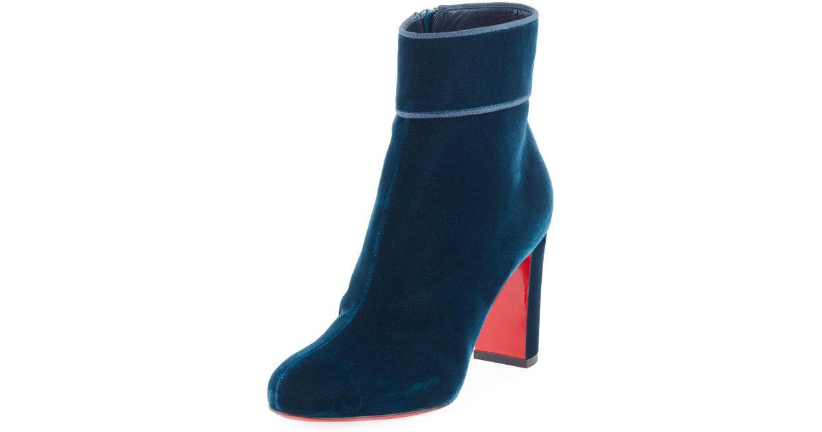 c5488459a91 Christian Louboutin Blue Moulamax Velvet 85mm Boot