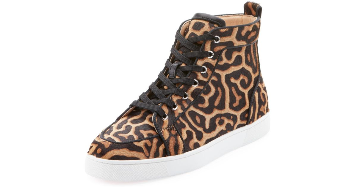c0305eb89a9 Christian Louboutin Brown Men's Rantus High-top Leopard-print Pony Hair  Sneakers for men