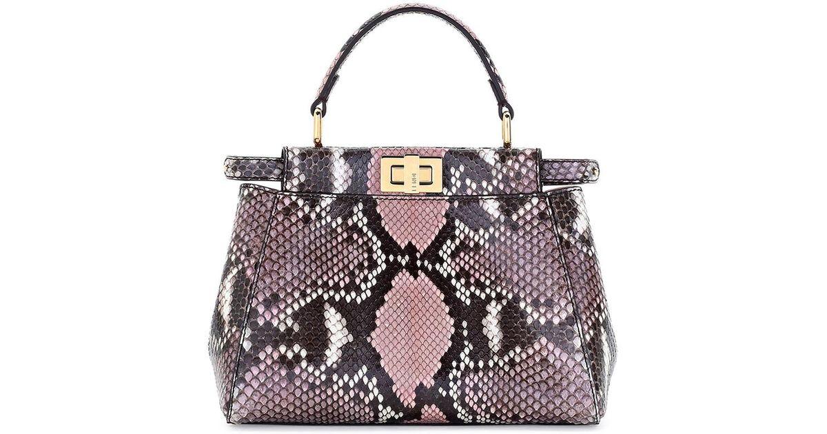 f7f5e2b444f2 Lyst - Fendi Peekaboo Mini Python Satchel Tote Bag in Pink