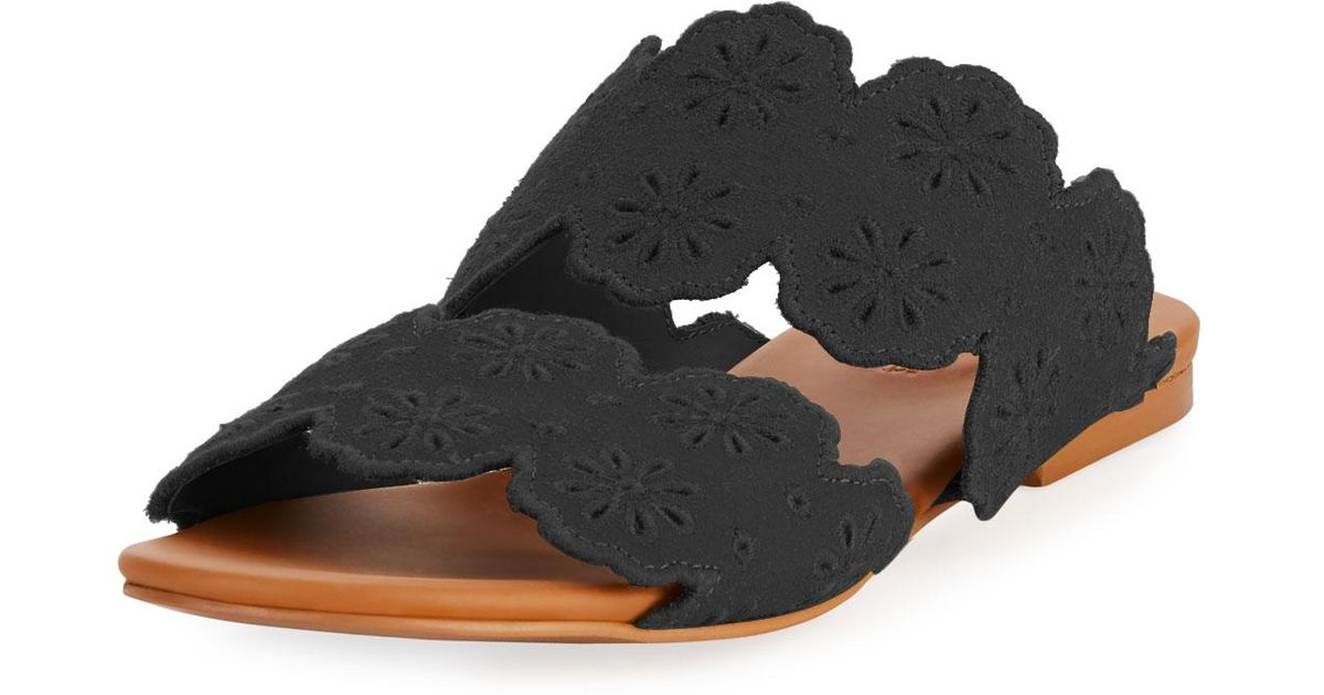 499deef96c76 Lyst - See By Chloé Cutout Floral Flat Two-band Slide Sandal in Black
