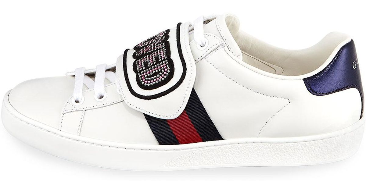 2ad87fdf66a Lyst - Gucci New Ace Loved Low-top Sneakers in White