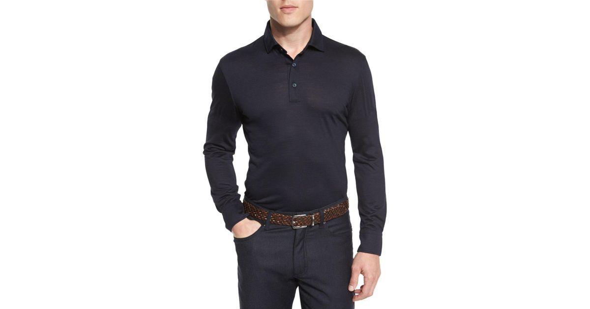 13ae24dd Ermenegildo Zegna Blue High-performance Merino Wool Long-sleeve Polo Shirt  for men