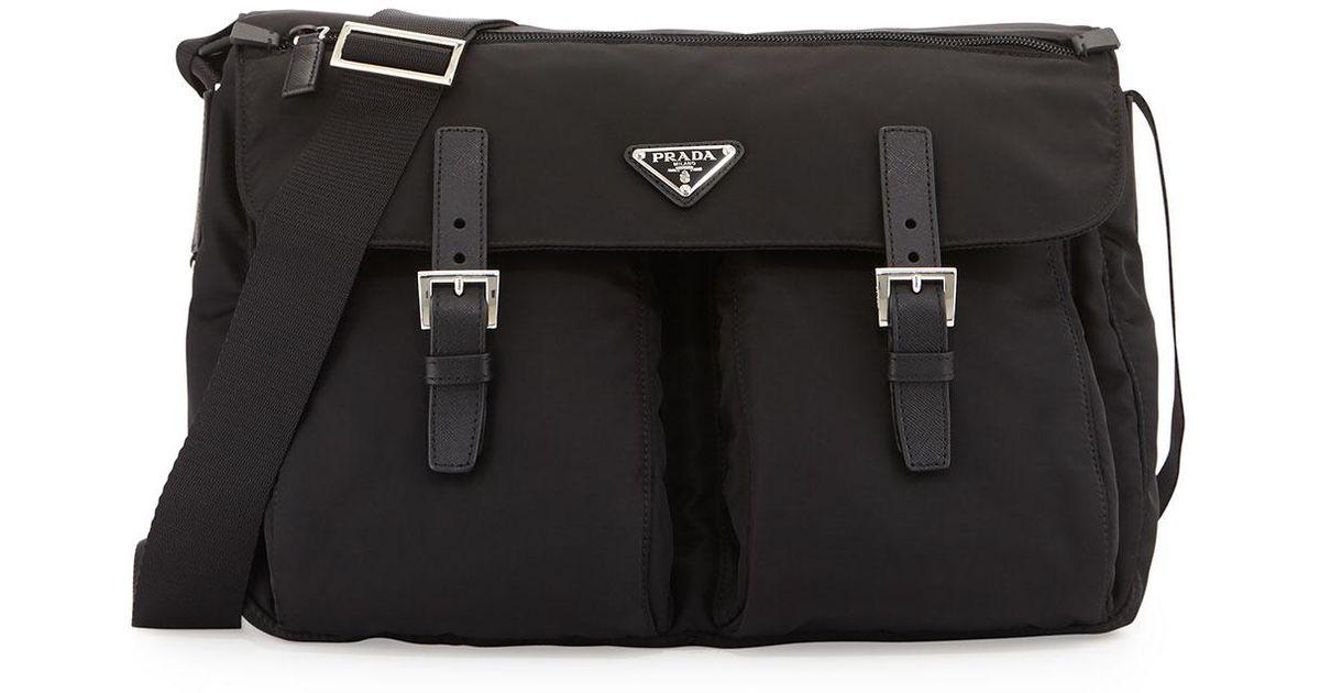 a35ab5be3b9895 ... denmark lyst prada vela buckled messenger bag in black c5273 d350e