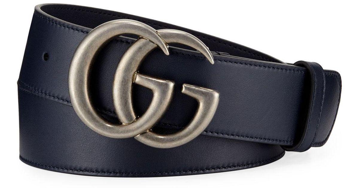 097e6f2c0 Gucci Men's Running GG Leather Belt in Blue for Men - Lyst