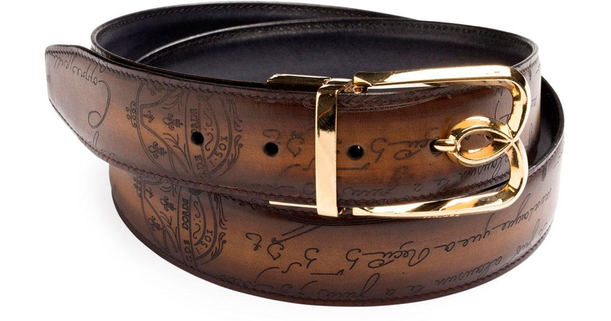 ac1d7d75b46 Berluti Brown Men's Reversible Scritto Leather Belt With B Logo Buckle for  men