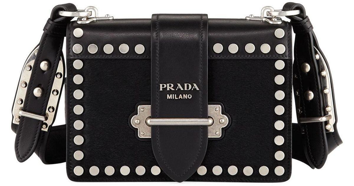 small Cahier studded shoulder bag - Black Prada upK05Gciy