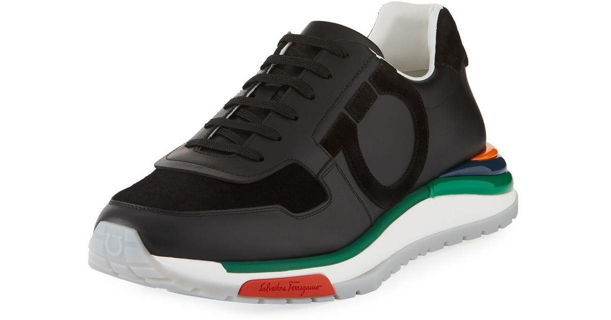 19386d582d8 Lyst - Ferragamo Men s Brooklyn Sneakers W  Rainbow Sole in Black for Men