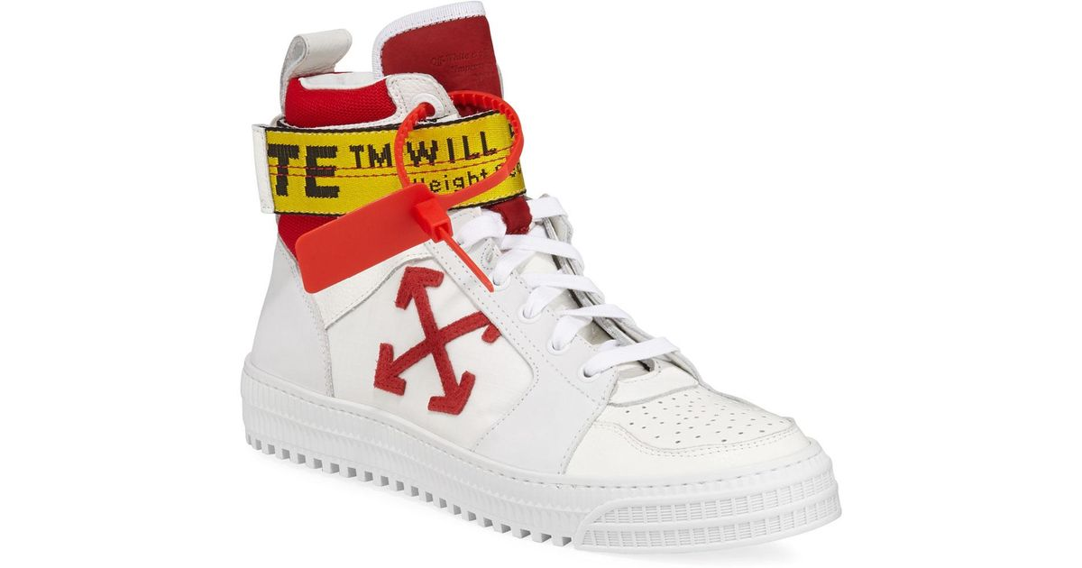 Industrial Belt-strap High-top Sneakers