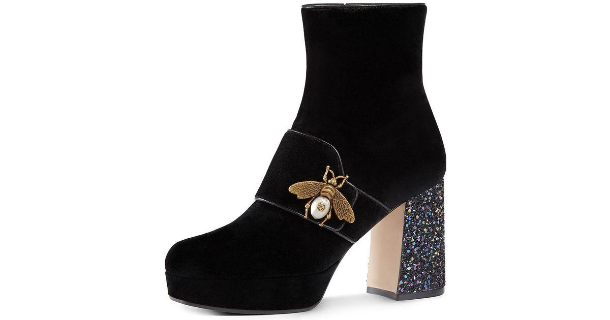 21727155a Gucci Soko Glitter-heel Bee Boot in Black - Lyst