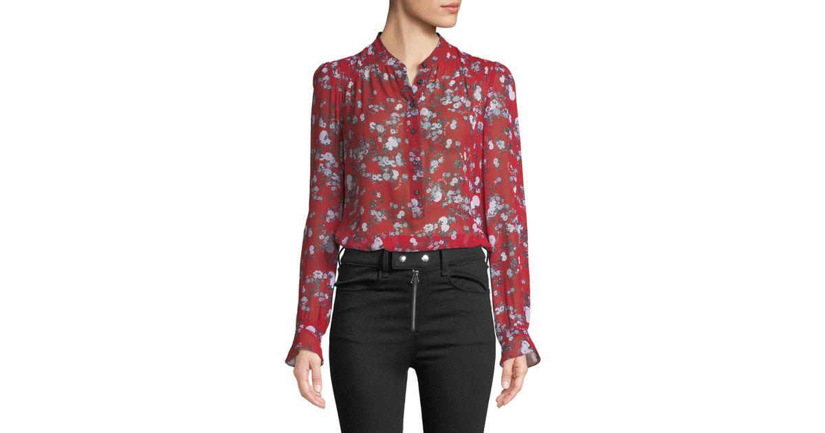dd8c48bd7c1b7e Lyst - Rag & Bone Susan Button-down Floral-print Silk Blouse in Red