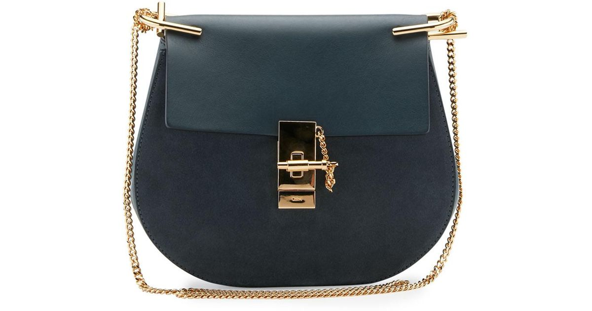 cb0f15501e9d6 Chloé Drew Small Chain Saddle Bag in Blue - Lyst