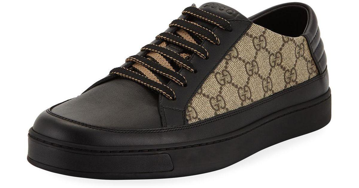 c03cbecfca14 Lyst - Gucci Men s Common GG Supreme Low-top Sneakers in Black for Men