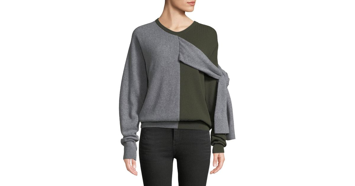 7310dcdfcd Lyst - Carven Crewneck Split-color Wool-cashmere Sweater W  Ties in Green