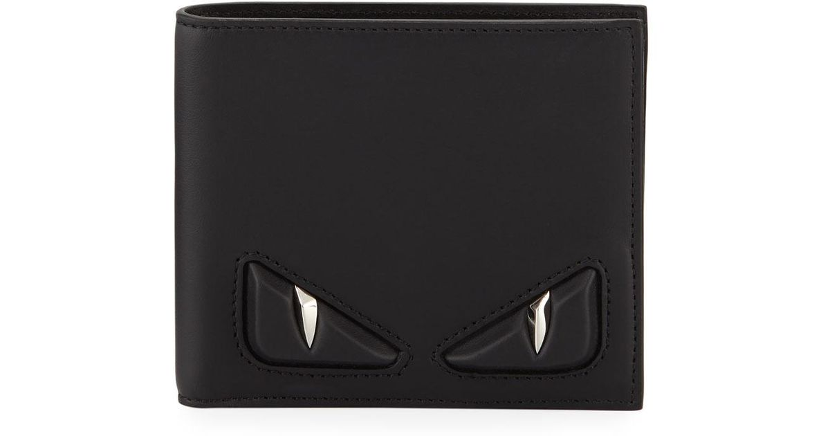 32b0d126 Fendi Black Embossed Monster Eye Bi-fold Wallet for men