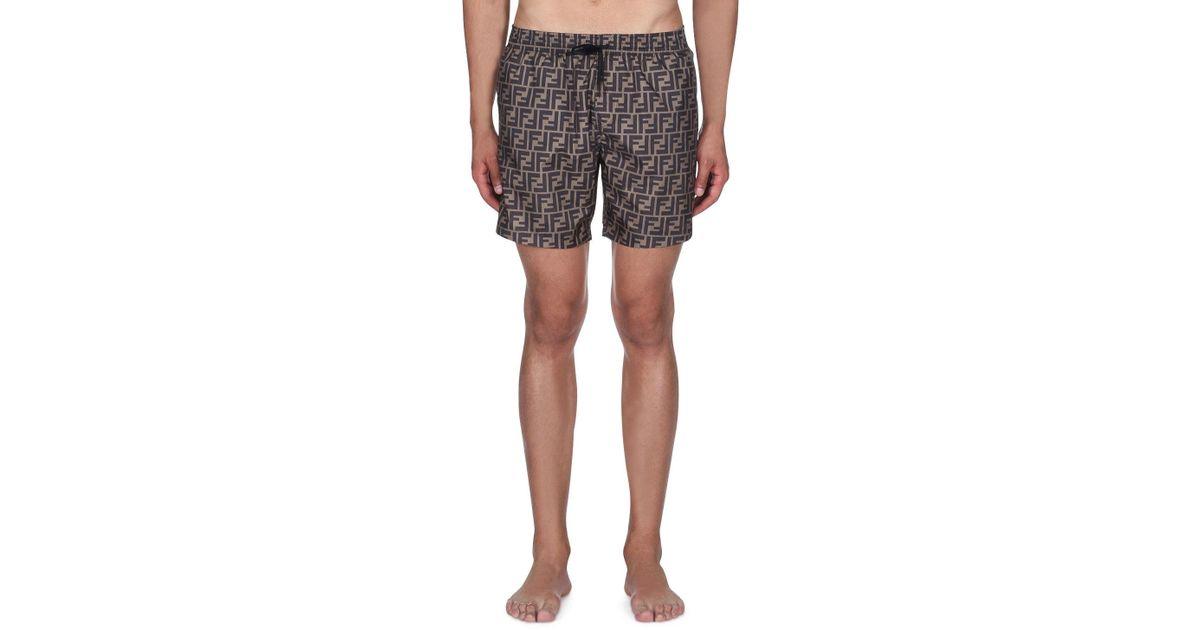 b72fa56715 Fendi Men's Logo Allover Swim Trunks in Gray for Men - Lyst