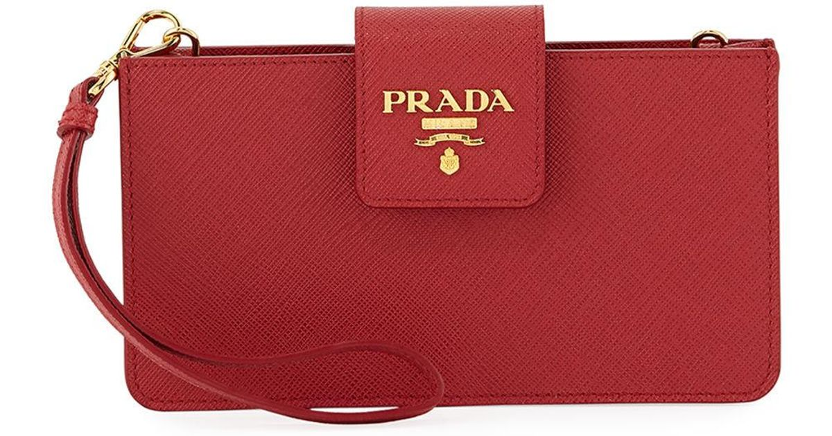 sale retailer c35ed dfbbd Prada Red Iphone® Case Wallet On Chain