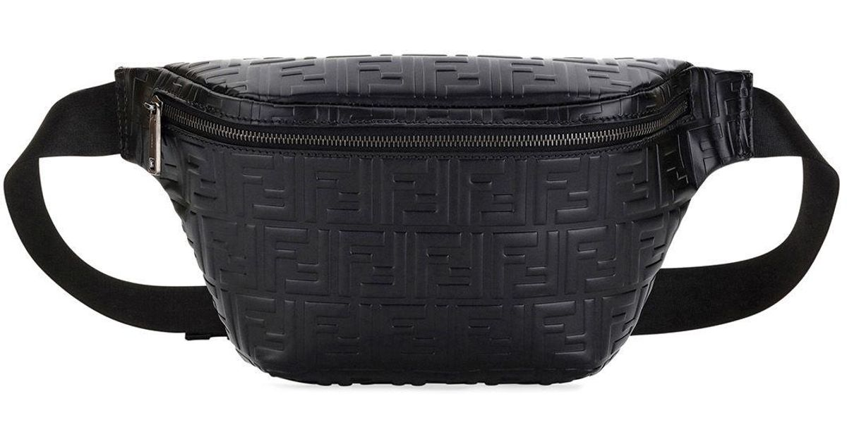 9d3ae682aec12 Fendi Black Ff Embossed Leather Belt Bag/fanny Pack