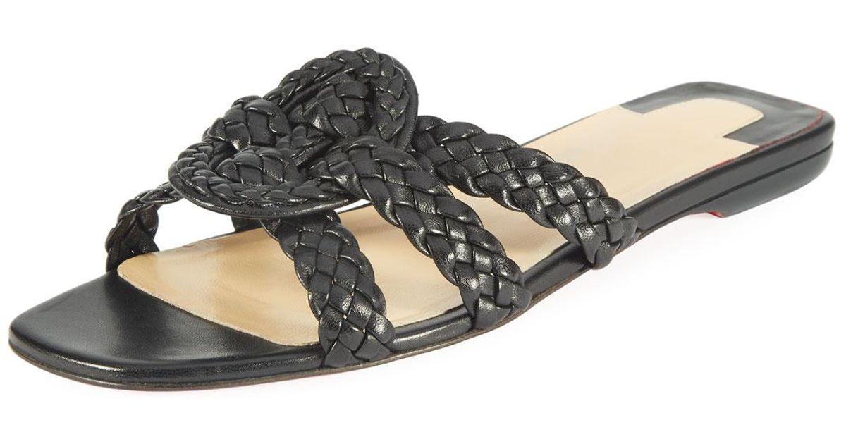 0964dd11976 Lyst - Christian Louboutin Marilla Flat Napa Red Sole Slide Sandal in Black  - Save 1%