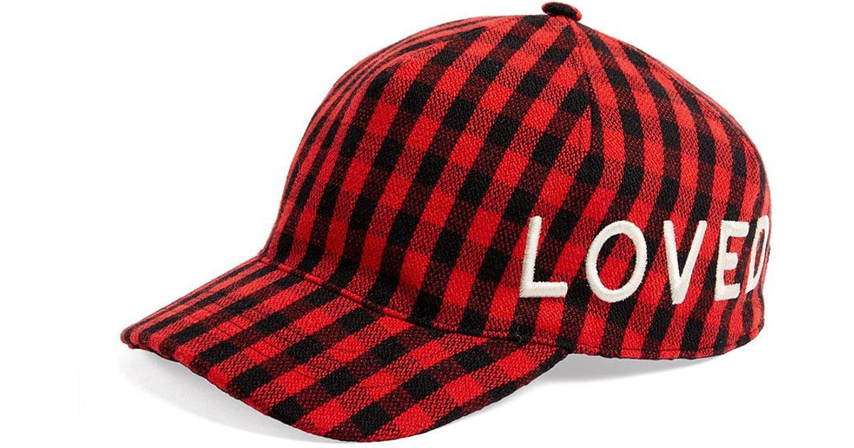 974af3b418a Lyst - Gucci Loved Check Flannel Baseball Hat in Red