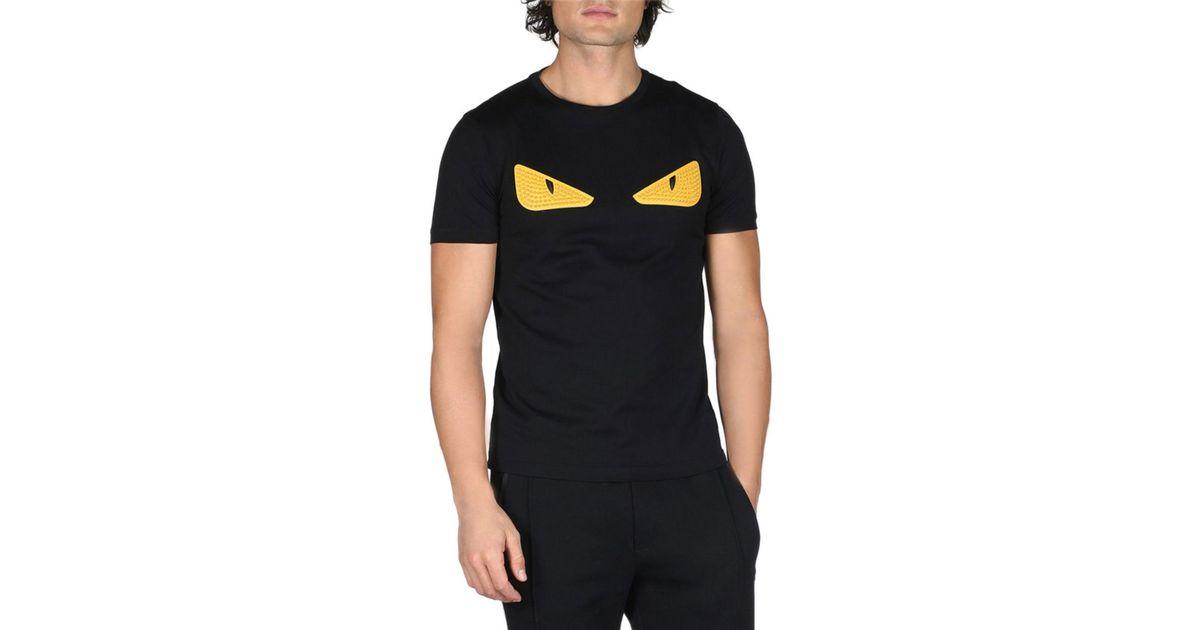 66af9c260f0e Fendi Monster Eyes Crewneck T-shirt in Black for Men - Lyst