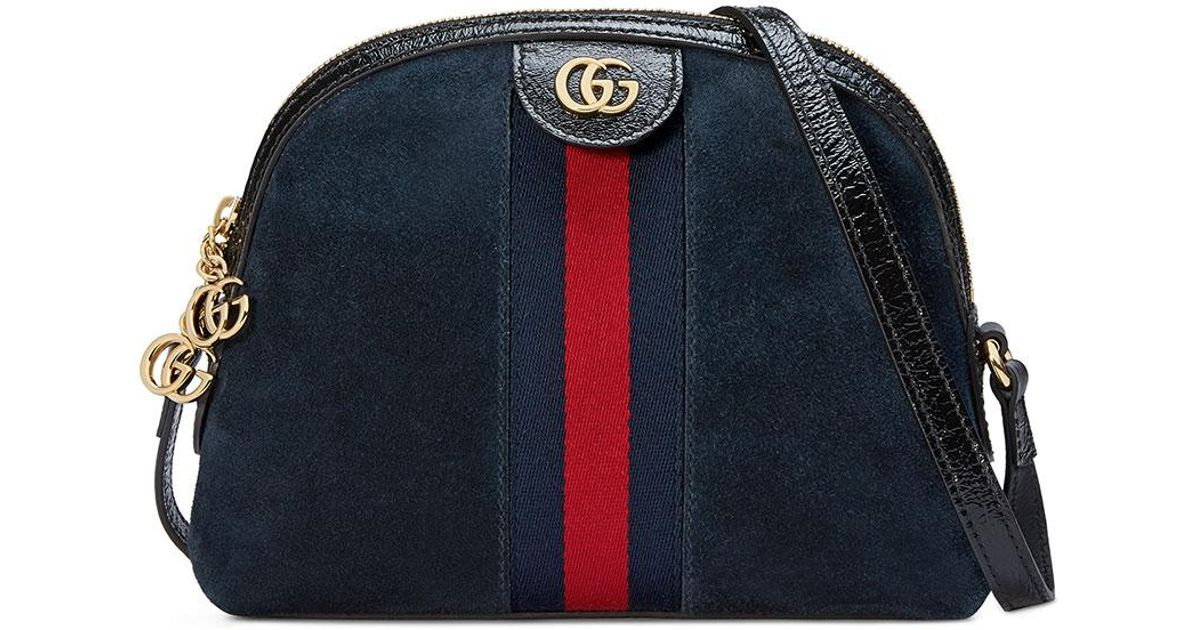 4c01ae3d820 Lyst - Gucci Linea Dragoni Suede Small Chain Shoulder Bag in Black