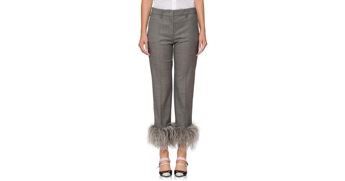 17d5b7d61f623 prada-GRAY-Feather-embellished-Straight-leg-Pants.jpeg