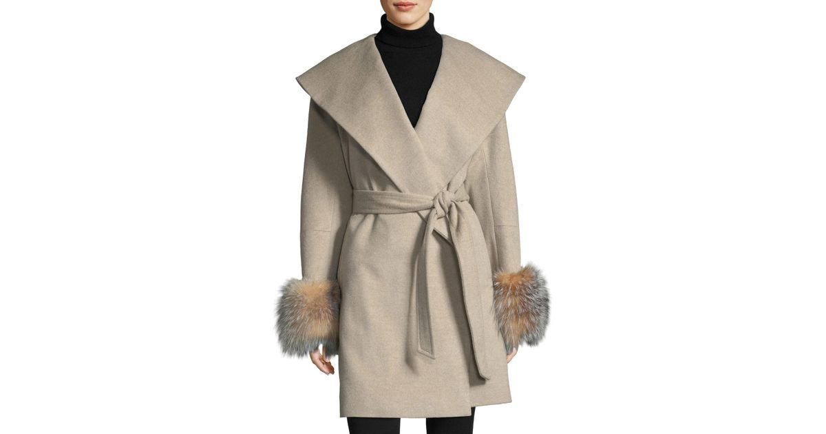 45c0c3dd Sofia Cashmere Multicolor Fur-cuff Open-front Belted Wool-cashmere Wrap Coat