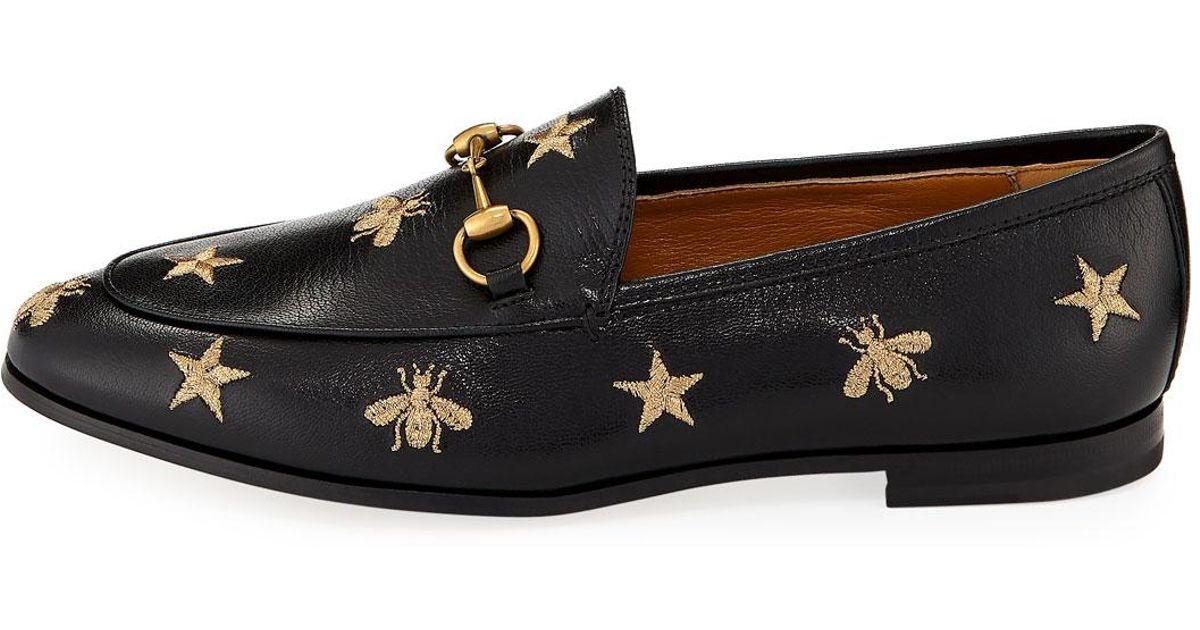 f5231a040 Gucci Jordaan Star & Bee Leather Loafer in Black - Lyst