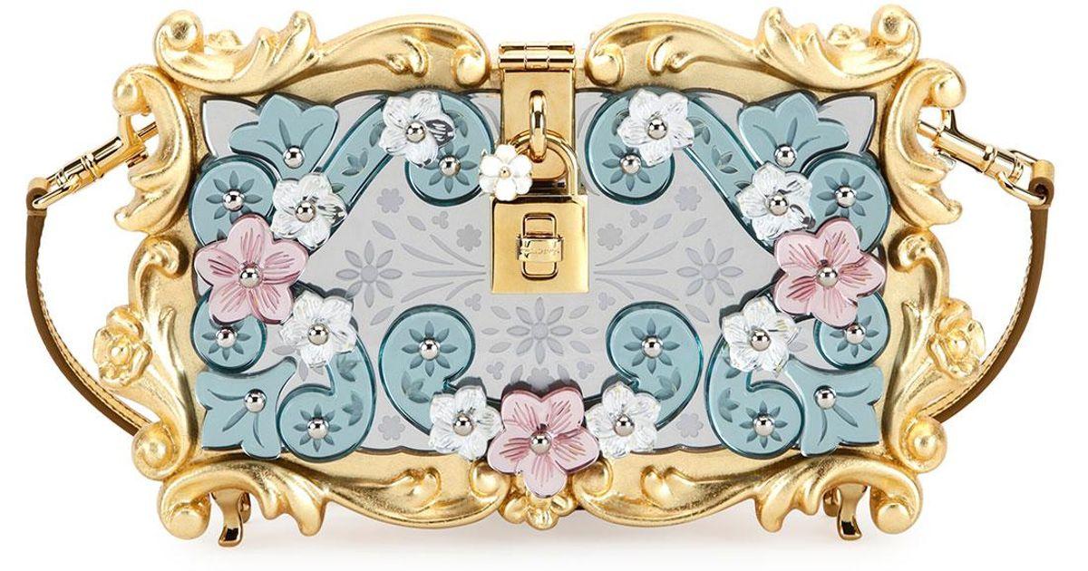 1b637507a701 Dolce   Gabbana - Blue Mirrored Baroque Dolce Box Bag - Lyst