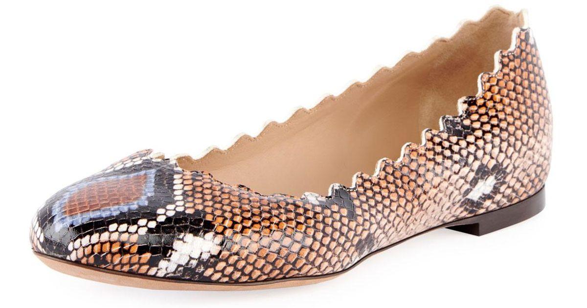 b5cbd157 Chloé Blue Lauren Scalloped Snake-print Ballet Flats