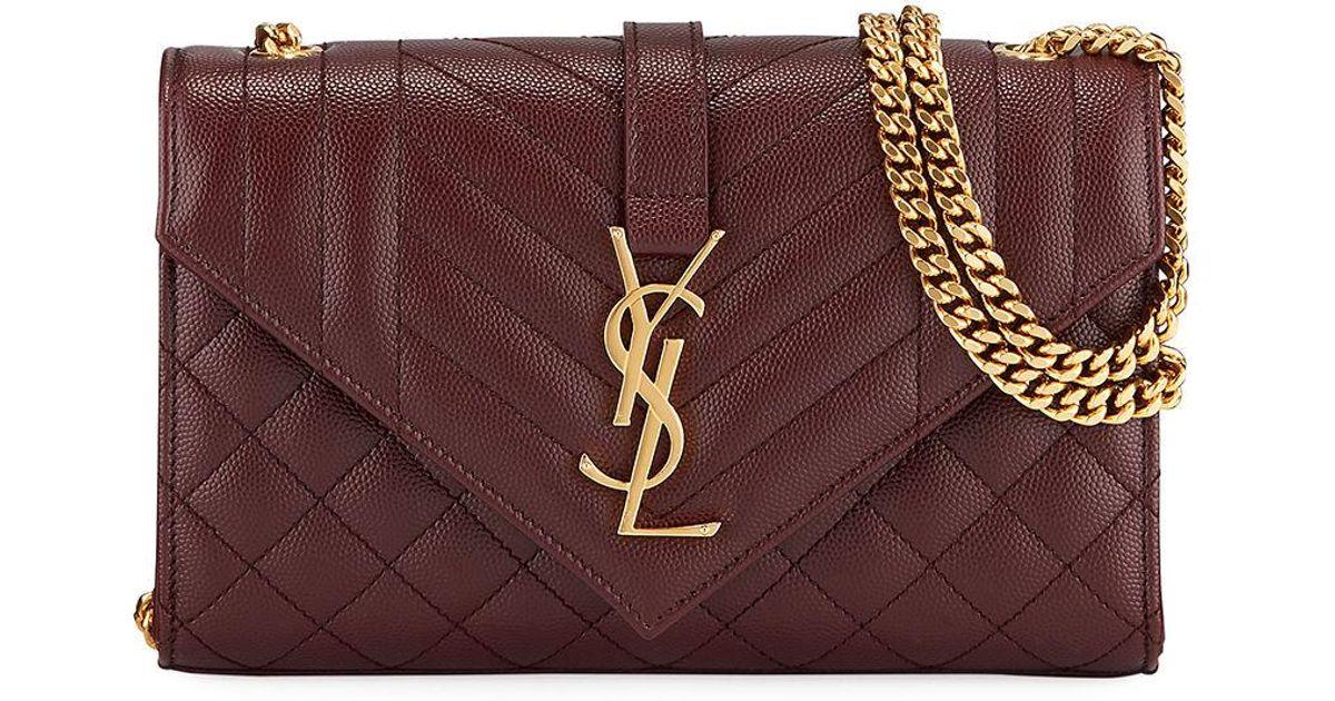 b5a28bb4 Saint Laurent Red Monogram Ysl Envelope Small Chain Shoulder Bag - Golden  Hardware