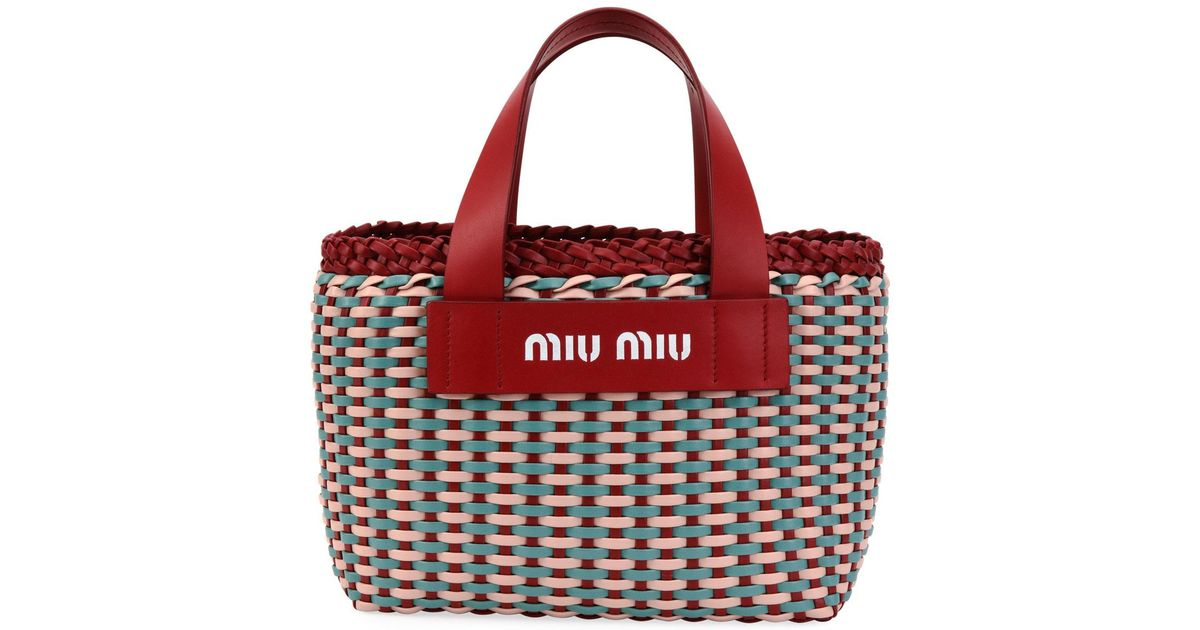 c58376283bc Lyst - Miu Miu Woven Patch Small Tote Bag in Red