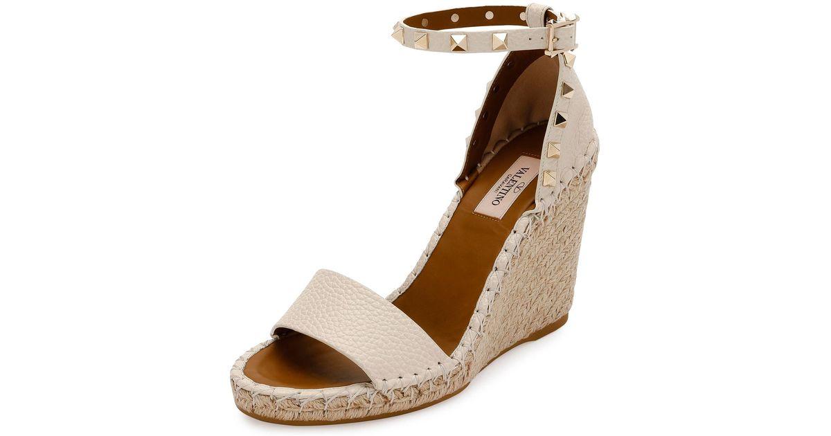 0b7bc2acb0f Valentino Brown Rockstud Double Espadrille Wedge Sandal