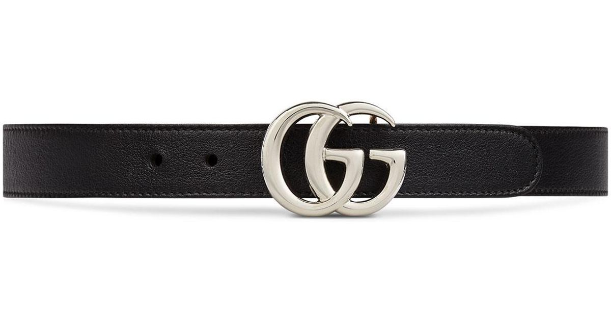 c796a8655 Gucci Kid's GG Leather Belt - Black in Black - Lyst