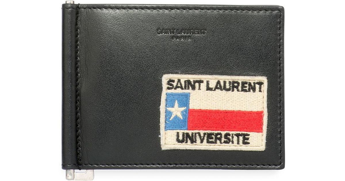 b298afaf Saint Laurent Black Universite Patch Leather Money Clip Wallet for men
