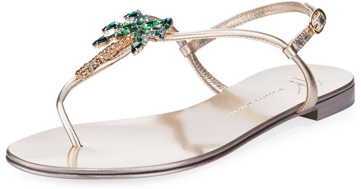 d20ddf1b360fb Lyst - Giuseppe Zanotti Palm Tree Flat Crystal Thong Sandal in Metallic