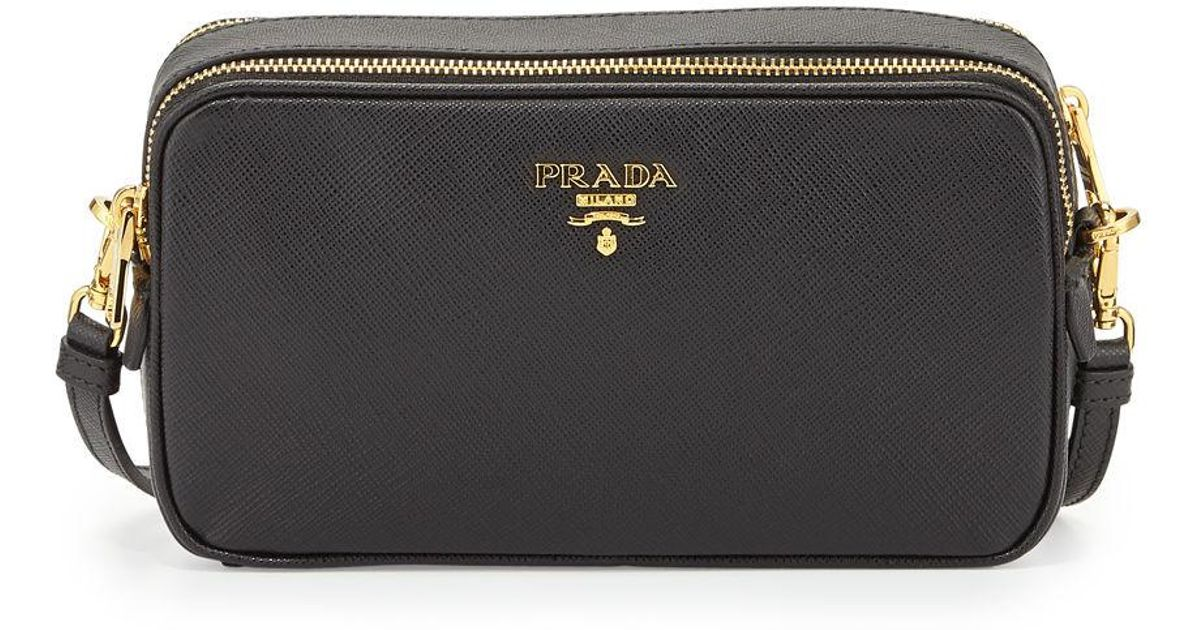 b37cf4e30485 Lyst - Prada Saffiano Mini Crossbody Bag in Black