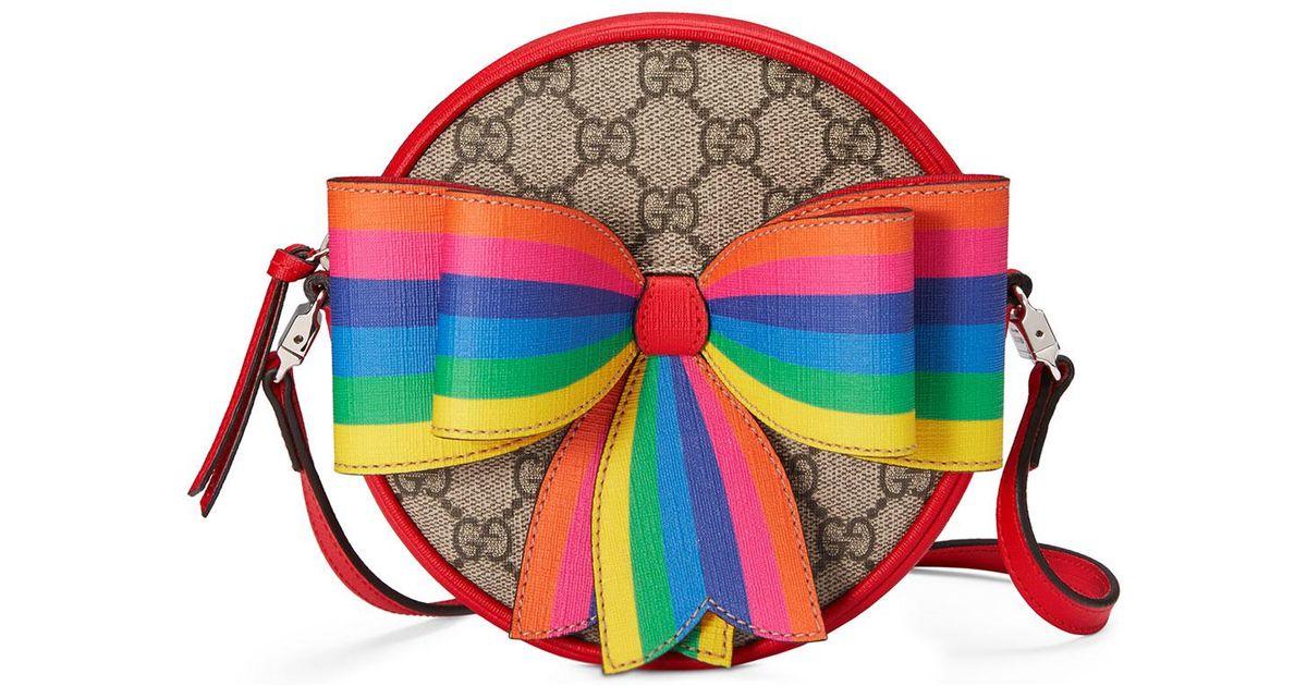 019f59123bc Gucci Girls  Circle Gg Supreme Crossbody Bag W  Rainbow Bow in Red - Lyst