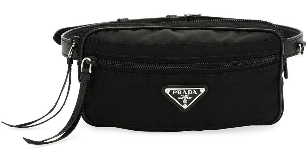 Lyst - Prada Nylon Belt Bag in Black