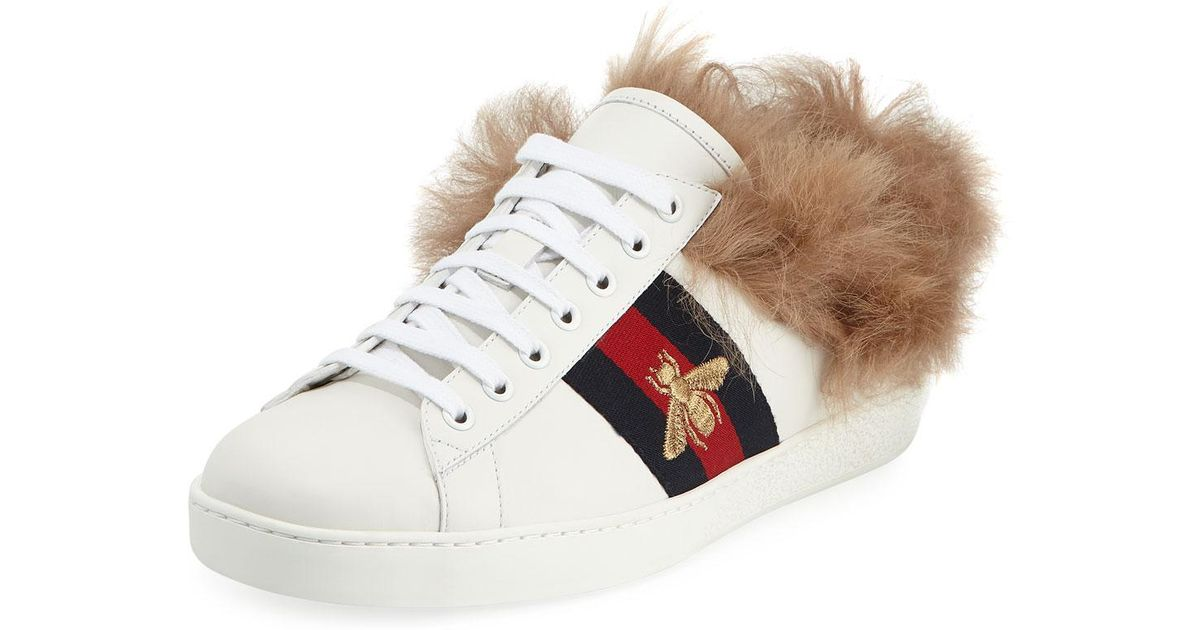 Gucci Ace Sneakers With Fur in White - Lyst