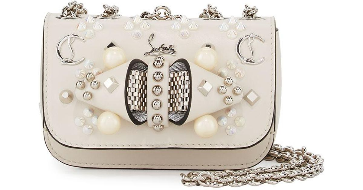 fea121176a3 Christian Louboutin White Sweet Charity Mixed-stud Leather Crossbody Bag