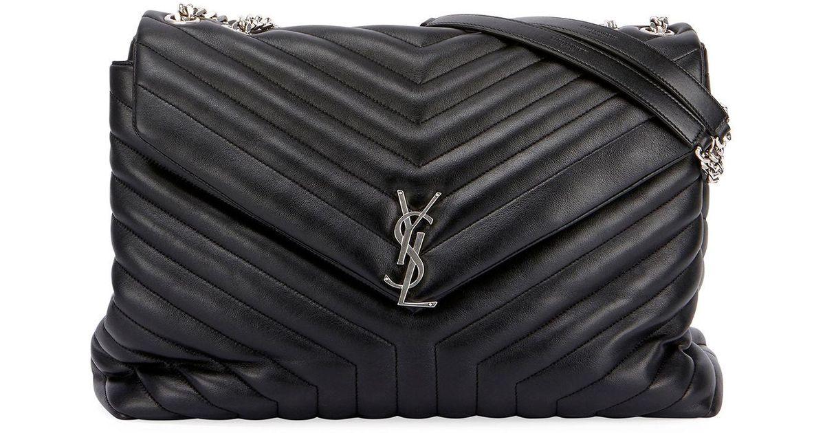 97ee9dfcdf90b Saint Laurent Loulou Monogram Ysl Large V-flap Chain Shoulder Bag - Nickel  Oxide Hardware in Black - Save 13% - Lyst